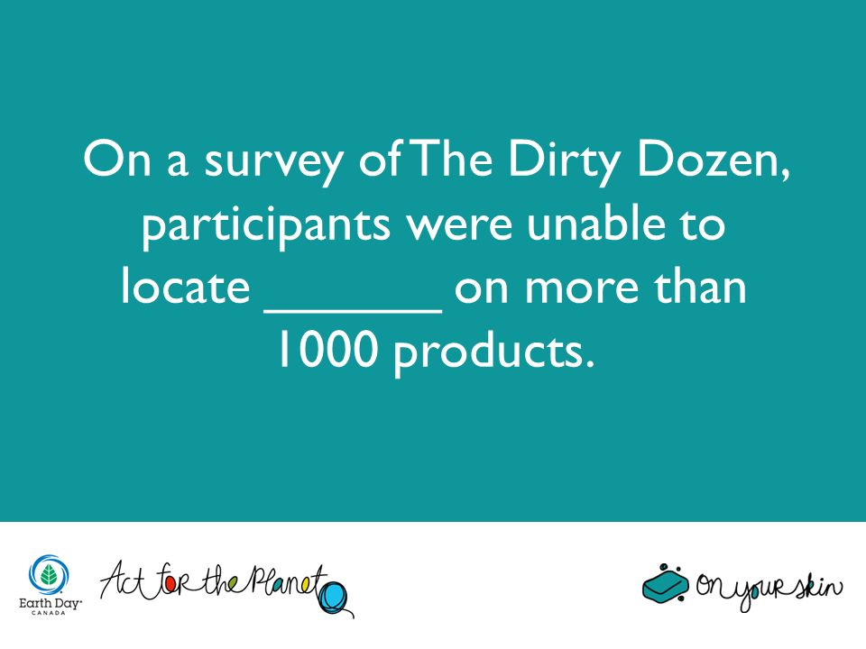 On a survey of The Dirty Dozen, participants were unable to locate ______ on more than 1000 products.