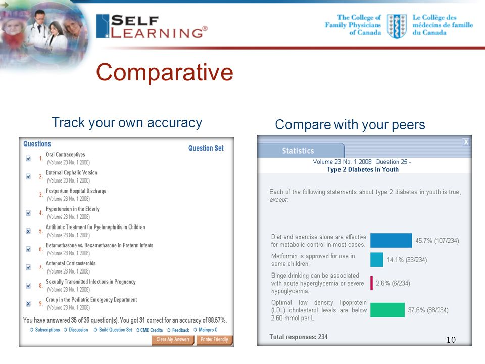 .. Comparative Compare with your peers Track your own accuracy. 10