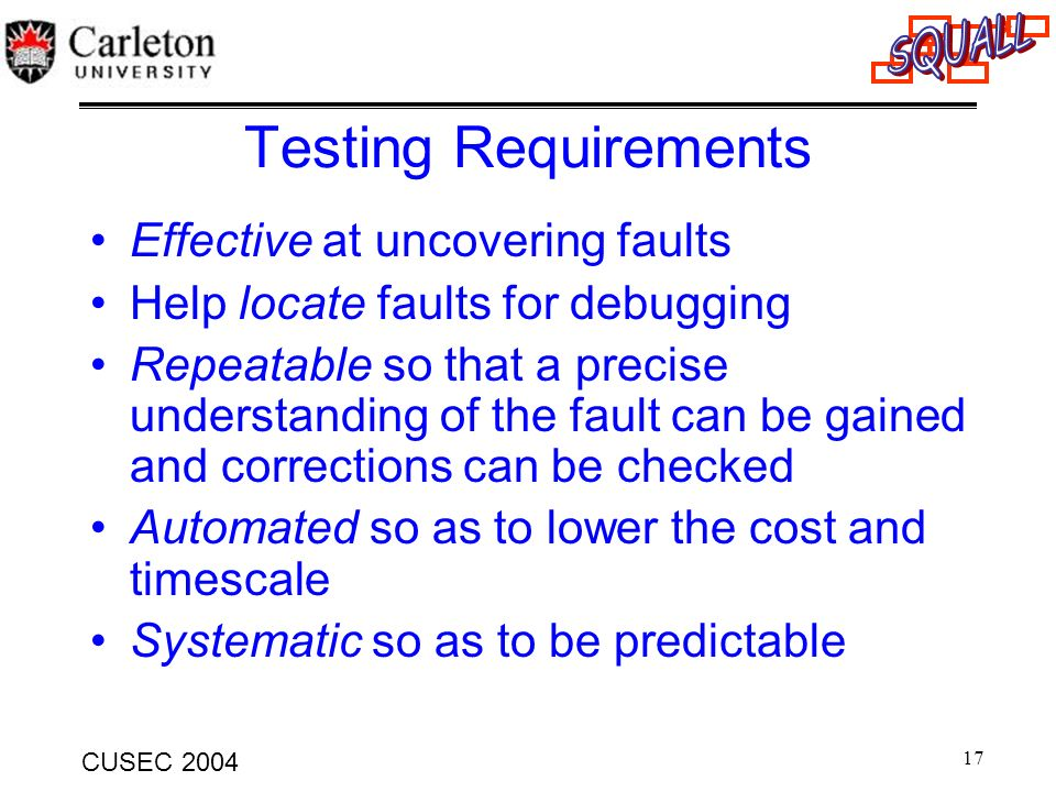 17 CUSEC 2004 Testing Requirements Effective at uncovering faults Help locate faults for debugging Repeatable so that a precise understanding of the f