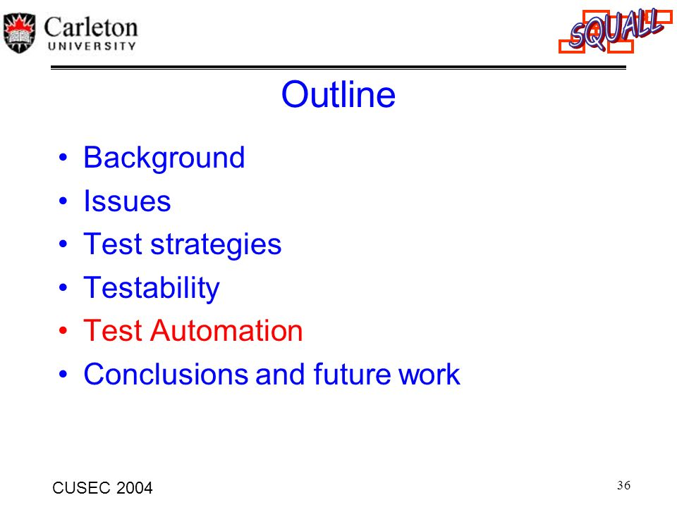 36 CUSEC 2004 Outline Background Issues Test strategies Testability Test Automation Conclusions and future work
