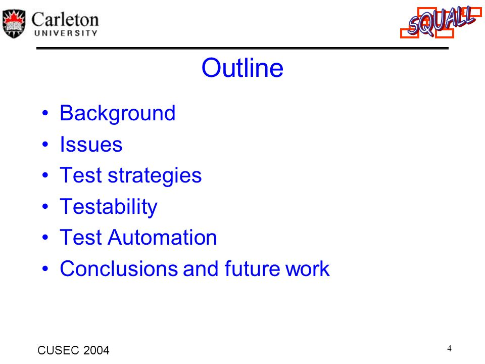 15 CUSEC 2004 Outline Background Issues Test strategies Testability Test Automation Conclusions and future work