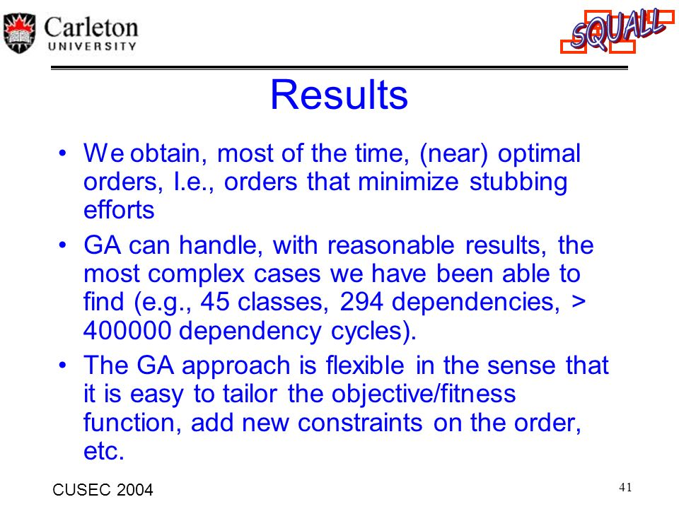 41 CUSEC 2004 Results We obtain, most of the time, (near) optimal orders, I.e., orders that minimize stubbing efforts GA can handle, with reasonable r