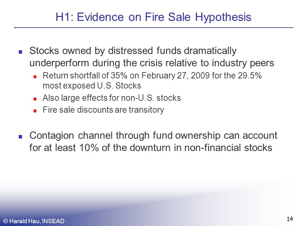 H1: Evidence on Fire Sale Hypothesis Stocks owned by distressed funds dramatically underperform during the crisis relative to industry peers Return shortfall of 35% on February 27, 2009 for the 29.5% most exposed U.S.