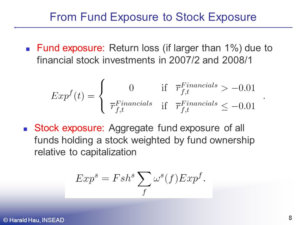 From Fund Exposure to Stock Exposure © Harald Hau, INSEAD 8 Fund exposure: Return loss (if larger than 1%) due to financial stock investments in 2007/2 and 2008/1 Stock exposure: Aggregate fund exposure of all funds holding a stock weighted by fund ownership relative to capitalization
