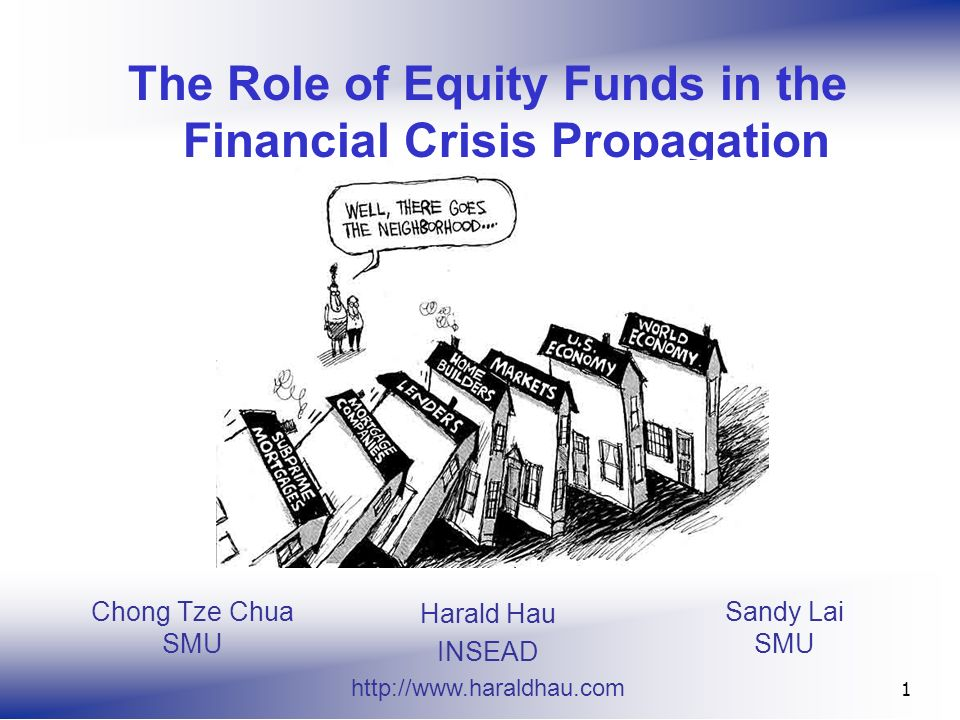Sandy Lai SMU 1 The Role of Equity Funds in the Financial Crisis Propagation Harald Hau INSEAD   Chong Tze Chua SMU