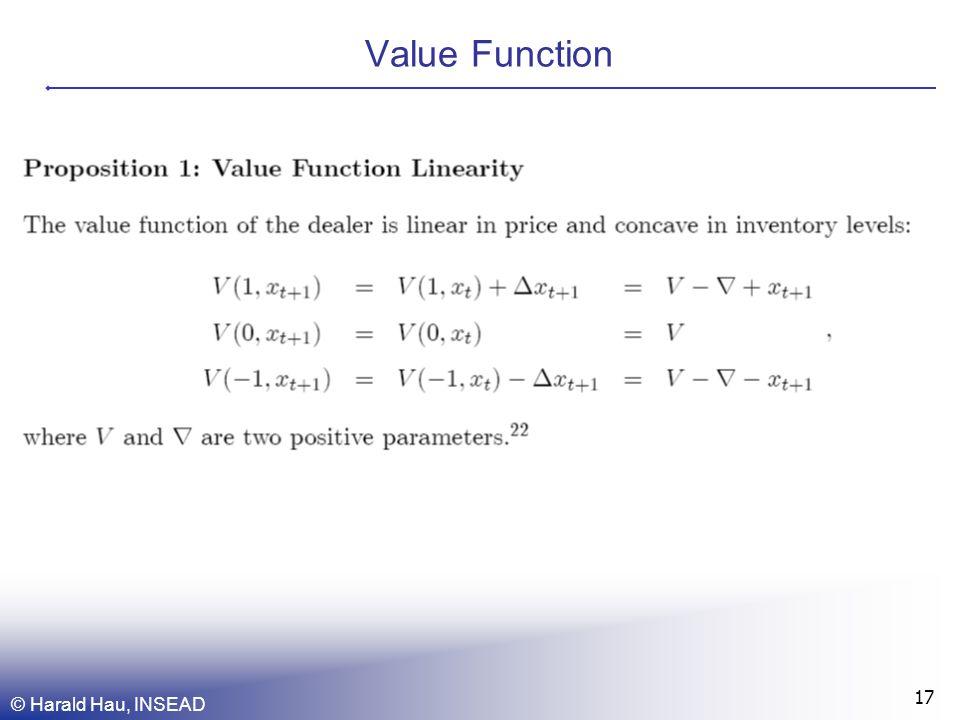 © Harald Hau, INSEAD 17 Value Function