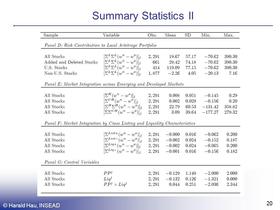Summary Statistics II © Harald Hau, INSEAD 20