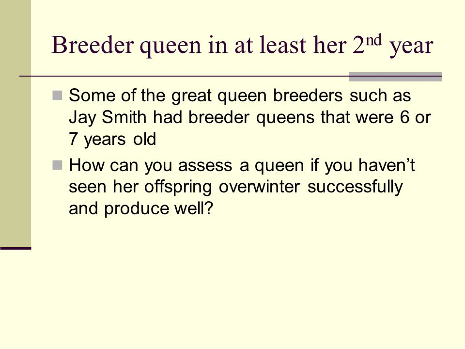 Breeder queen in at least her 2 nd year Some of the great queen breeders such as Jay Smith had breeder queens that were 6 or 7 years old How can you a