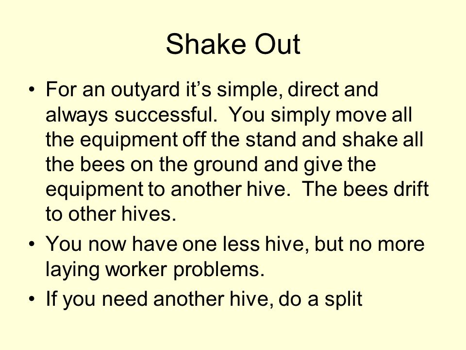 Shake Out For an outyard its simple, direct and always successful. You simply move all the equipment off the stand and shake all the bees on the groun