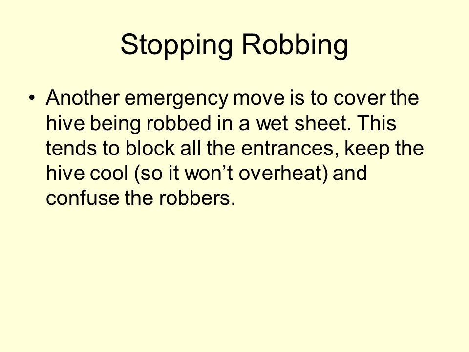 Stopping Robbing Another emergency move is to cover the hive being robbed in a wet sheet. This tends to block all the entrances, keep the hive cool (s