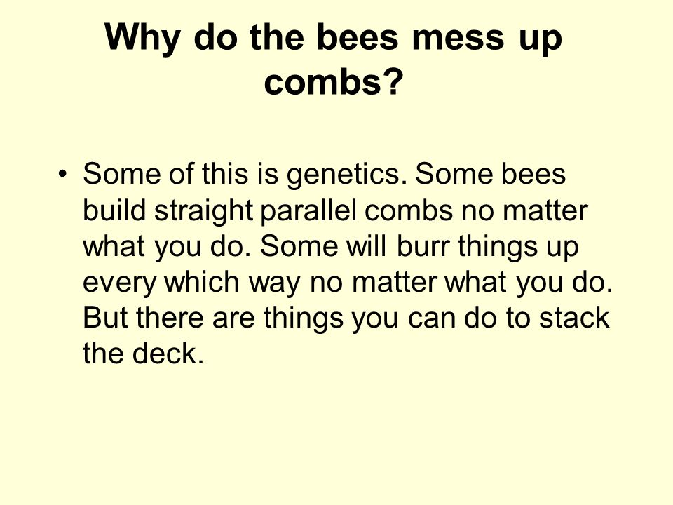 Why do the bees mess up combs? Some of this is genetics. Some bees build straight parallel combs no matter what you do. Some will burr things up every