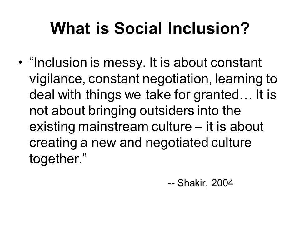 What is social inclusion.