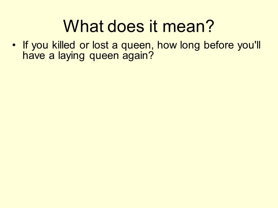 What does it mean If you killed or lost a queen, how long before you ll have a laying queen again