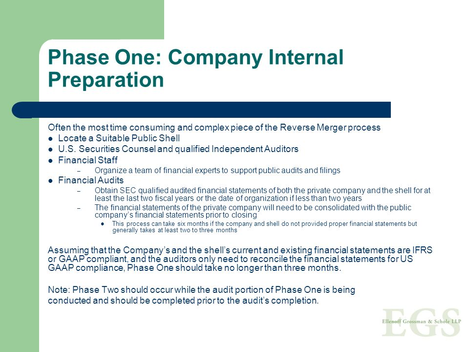 Phase One: Company Internal Preparation Often the most time consuming and complex piece of the Reverse Merger process Locate a Suitable Public Shell U.S.