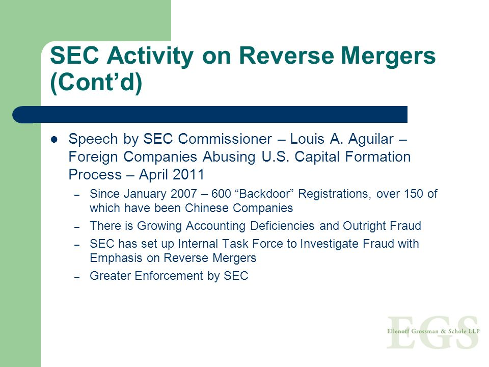 Speech by SEC Commissioner – Louis A. Aguilar – Foreign Companies Abusing U.S. Capital Formation Process – April 2011 – Since January 2007 – 600 Backd