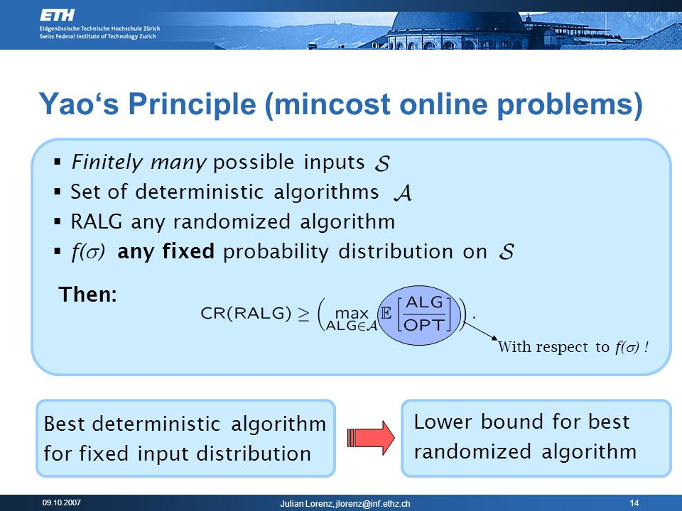 09.10.2007 Julian Lorenz, jlorenz@inf.ethz.ch 14 Yaos Principle (mincost online problems) Finitely many possible inputs Set of deterministic algorithms RALG any randomized algorithm f( ) any fixed probability distribution on With respect to f( ) .