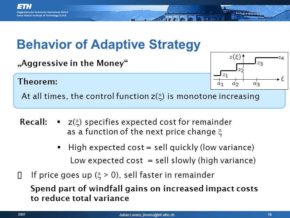 2007 Julian Lorenz, jlorenz@inf.ethz.ch 16 Behavior of Adaptive Strategy Theorem: Aggressive in the Money At all times, the control function z( ) is m
