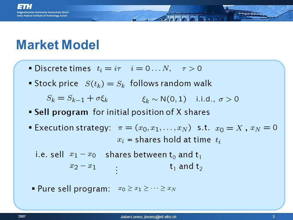 2007 Julian Lorenz, jlorenz@inf.ethz.ch 14 Dynamic Programming (4/4) Theorem: where Control variable new stock holding (i.e.