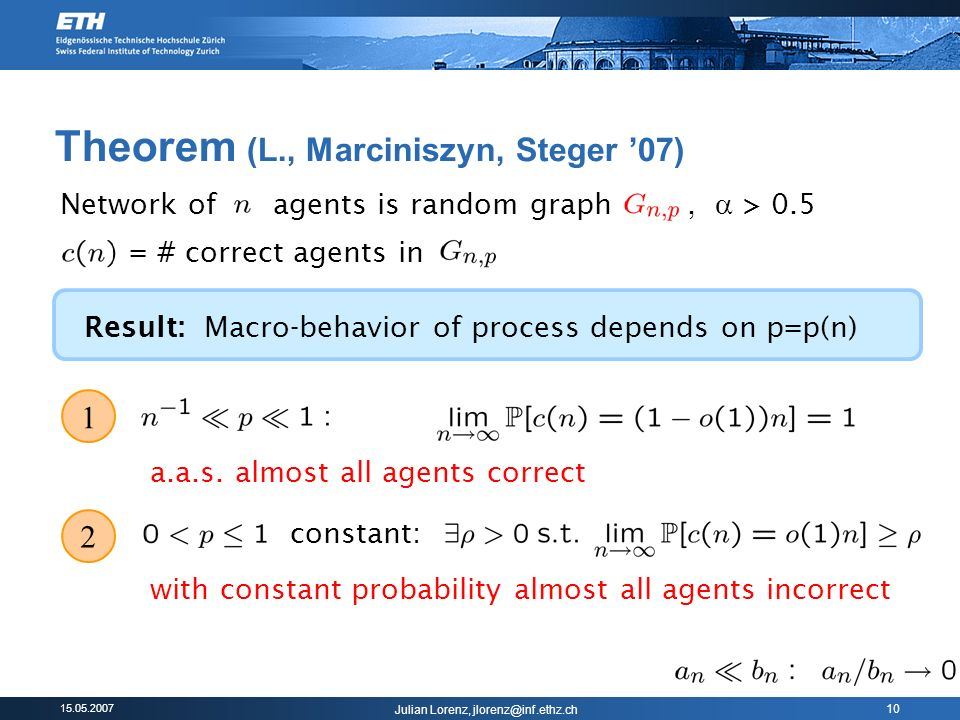 15.05.2007 Julian Lorenz, jlorenz@inf.ethz.ch 10 Theorem (L., Marciniszyn, Steger 07) = # correct agents in 1 a.a.s. almost all agents correct Network