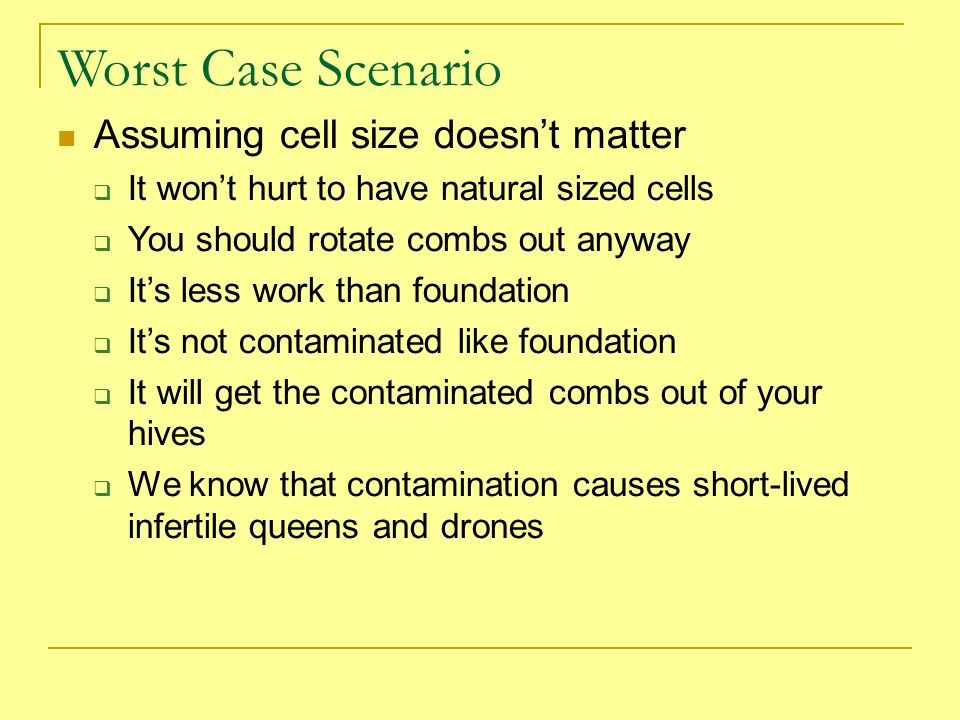 Worst Case Scenario Assuming cell size doesnt matter It wont hurt to have natural sized cells You should rotate combs out anyway Its less work than fo