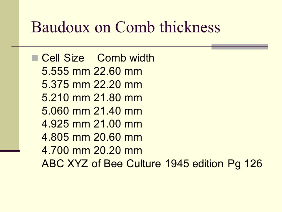 Baudoux on Comb thickness Cell Size Comb width 5.555 mm 22.60 mm 5.375 mm 22.20 mm 5.210 mm 21.80 mm 5.060 mm 21.40 mm 4.925 mm 21.00 mm 4.805 mm 20.6