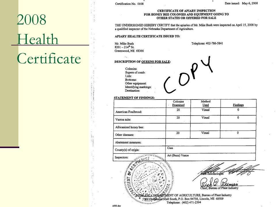 2008 Health Certificate