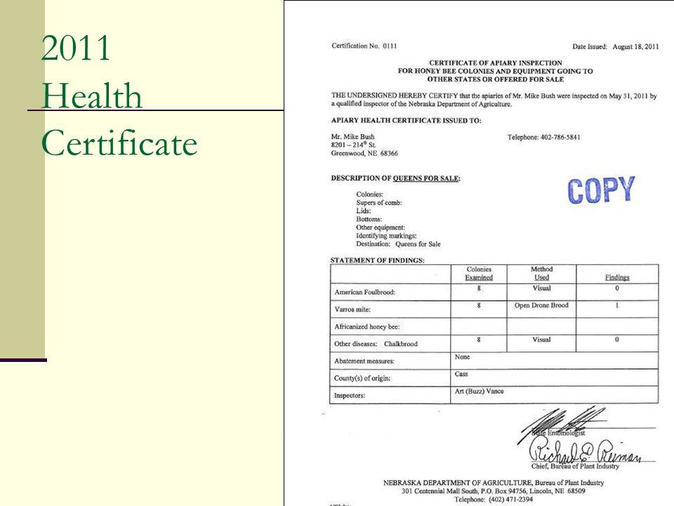 2011 Health Certificate