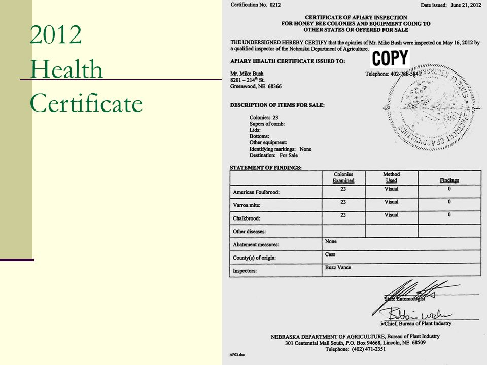 2012 Health Certificate