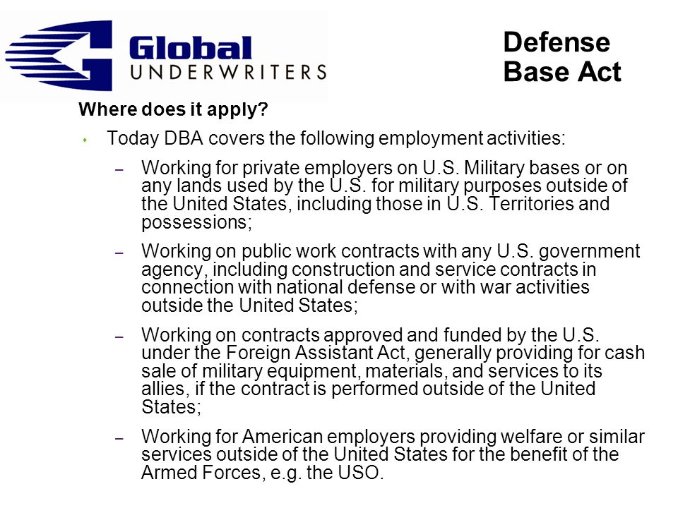 Defense Base Act Where does it apply.