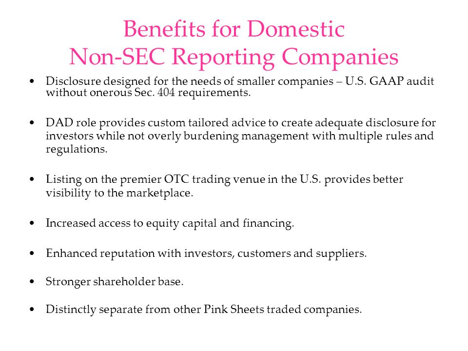 Benefits for Domestic Non-SEC Reporting Companies Disclosure designed for the needs of smaller companies – U.S. GAAP audit without onerous Sec. 404 re