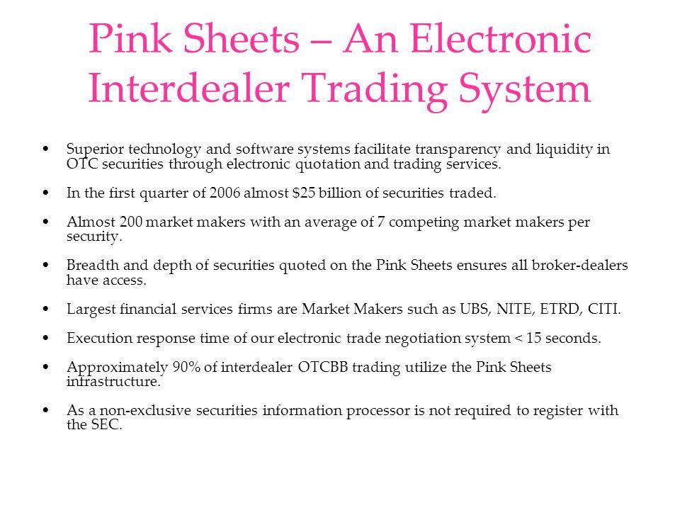 Market Statistics July 2006 MarketCompanies Listed Share VolumeValue Traded NYSE3,65435,952,003,055$1,306,031,000,000 Nasdaq3,39829,057,289,811$635,837,384,680 1 Bulletin Board 3,30437,091,296,237$2,794,045,583 Pink Sheets4,74188,081,319,065$9,156,547,876 1 Value trades based on average daily volume per www.nasdaqtrader.com
