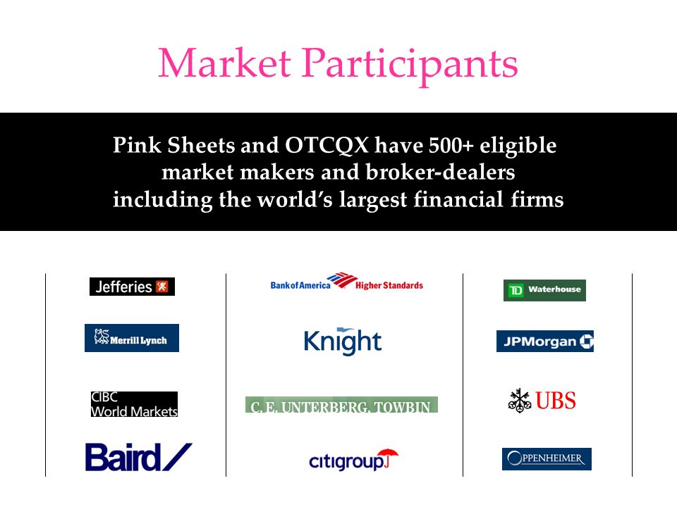 Market Participants Pink Sheets and OTCQX have 500+ eligible market makers and broker-dealers including the worlds largest financial firms
