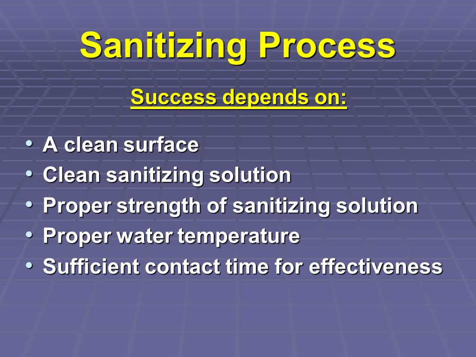 Sanitizing Process A clean surface A clean surface Clean sanitizing solution Clean sanitizing solution Proper strength of sanitizing solution Proper s