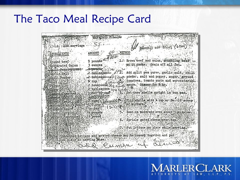 The Taco Meal Recipe Card