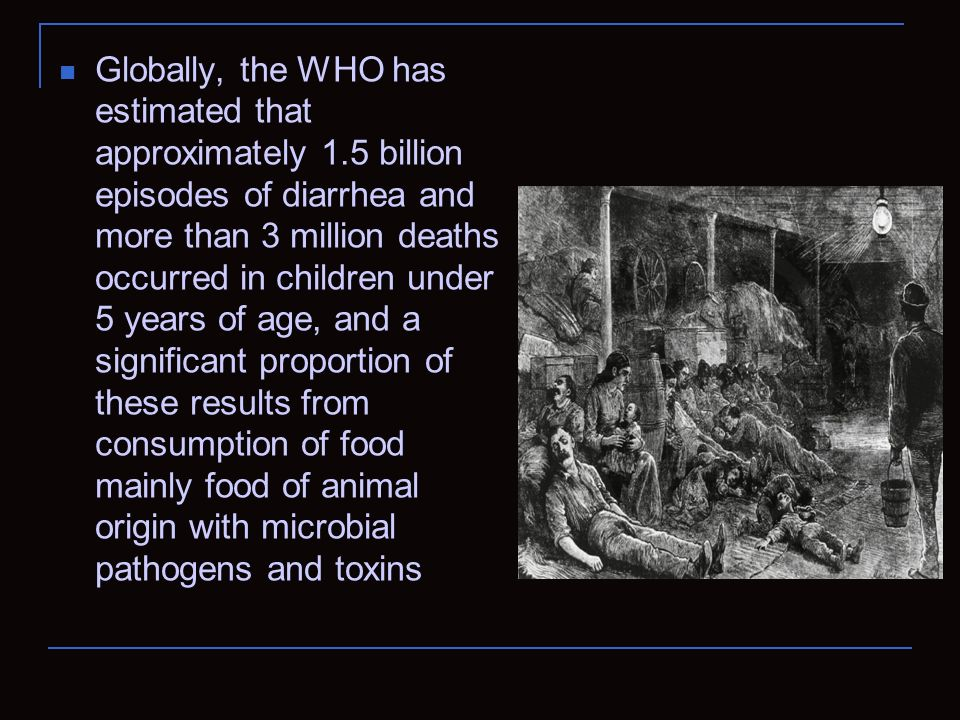 Globally, the WHO has estimated that approximately 1.5 billion episodes of diarrhea and more than 3 million deaths occurred in children under 5 years