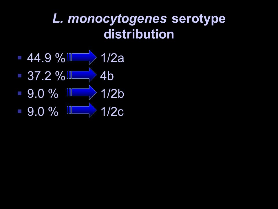 L. monocytogenes serotype distribution 44.9 %1/2a 37.2 %4b 9.0 %1/2b 9.0 % 1/2c