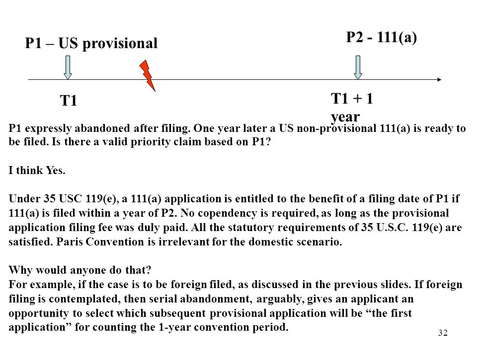 32 P1 – US provisional T1 T1 + 1 year P1 expressly abandoned after filing.