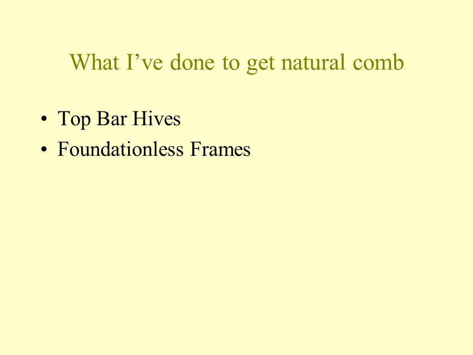 What Ive done to get natural comb Top Bar Hives Foundationless Frames
