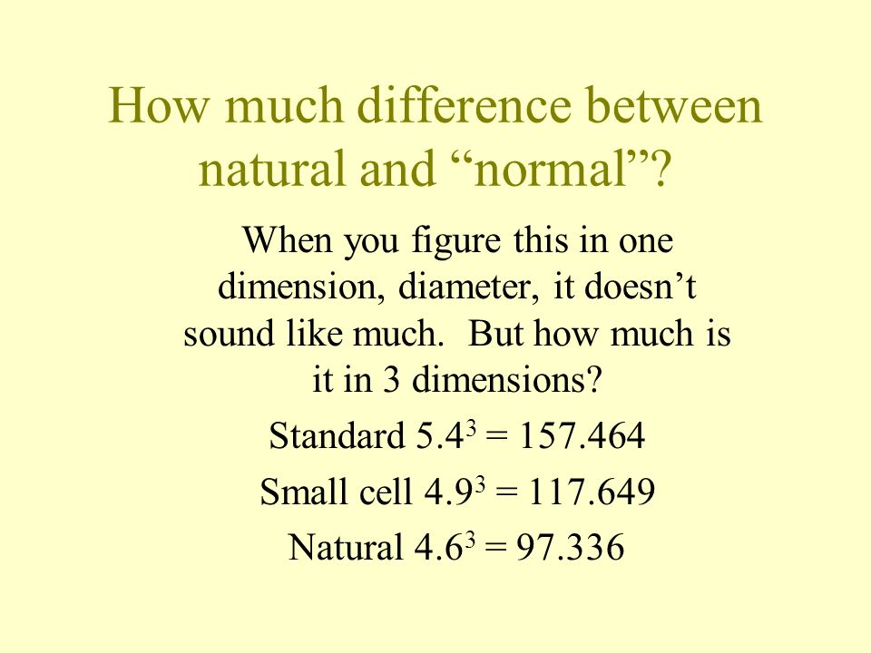 How much difference between natural and normal? When you figure this in one dimension, diameter, it doesnt sound like much. But how much is it in 3 di