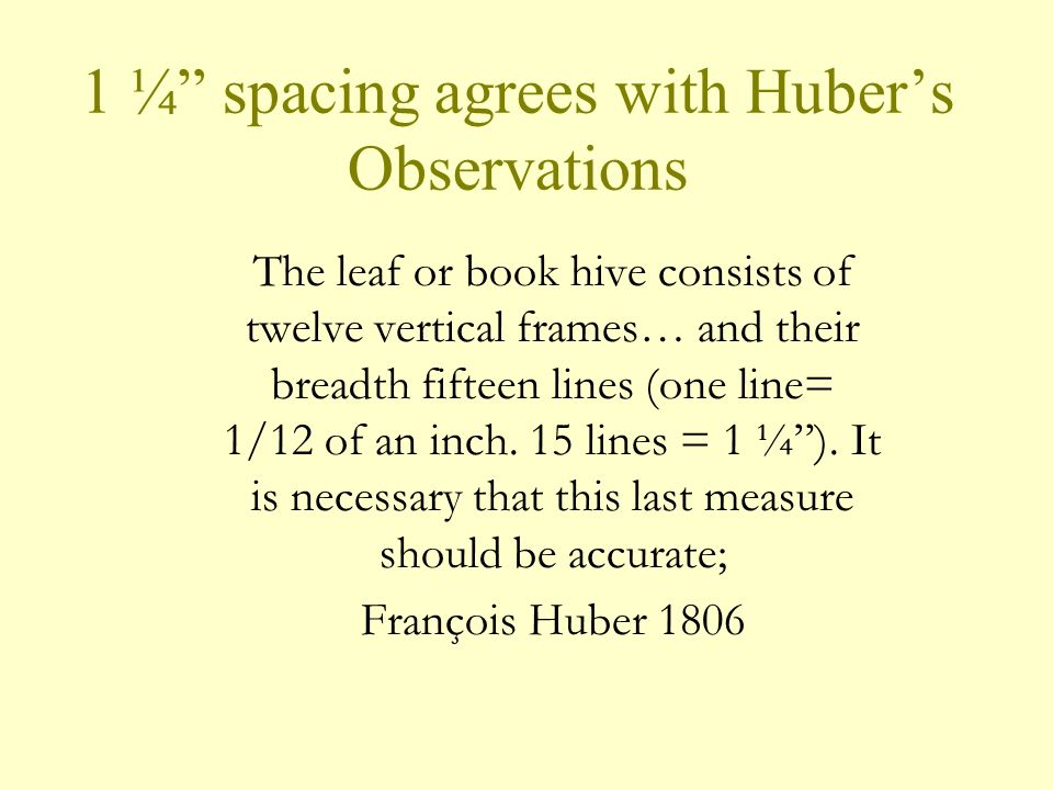 1 ¼ spacing agrees with Hubers Observations The leaf or book hive consists of twelve vertical frames… and their breadth fifteen lines (one line= 1/12