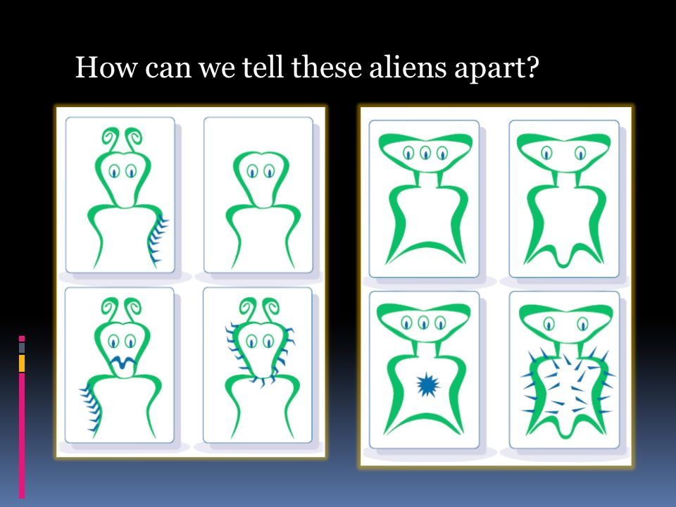 How can we tell these aliens apart?