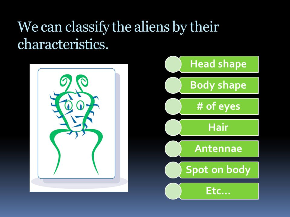 We can classify the aliens by their characteristics. Head shape Body shape # of eyes Hair Antennae Spot on body Etc…