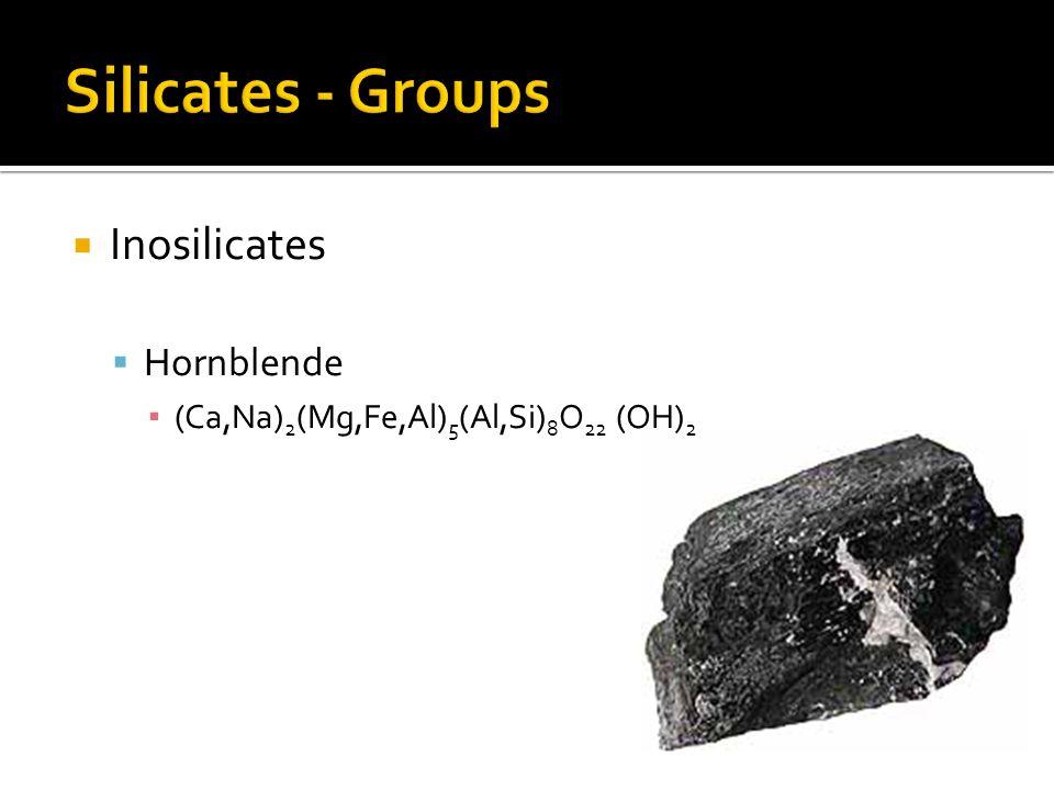 Inosilicates Hornblende (Ca,Na) 2 (Mg,Fe,Al) 5 (Al,Si) 8 O 22 (OH) 2