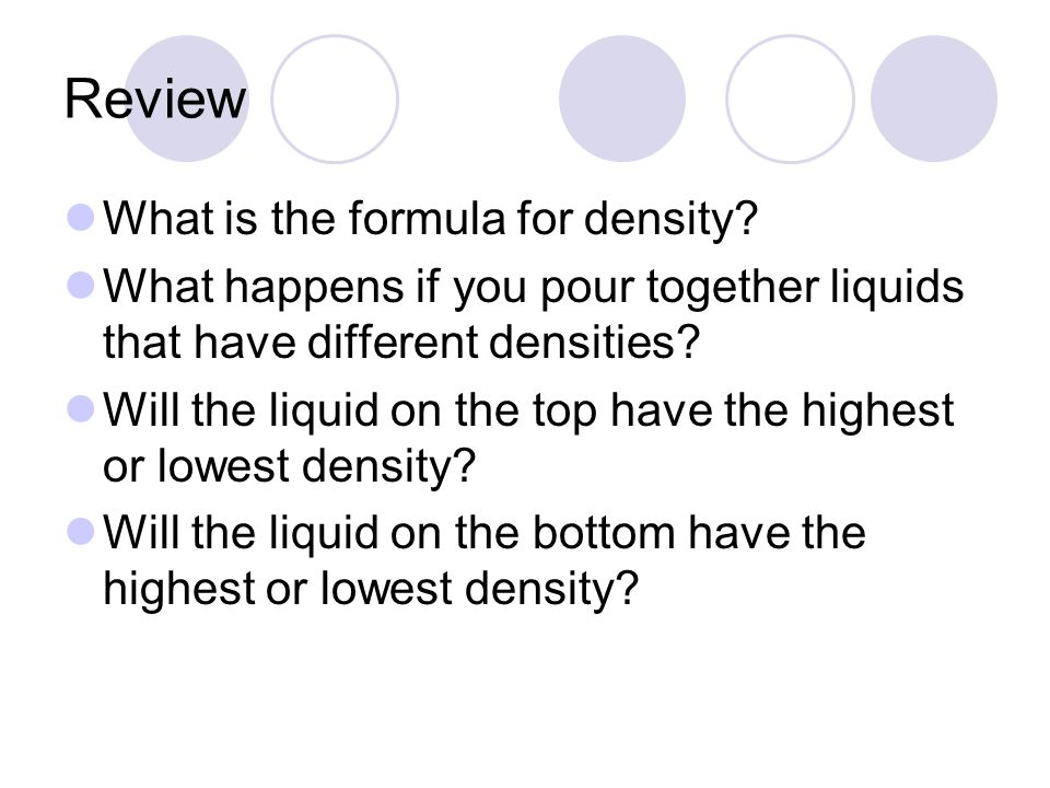 Review What is the formula for density.