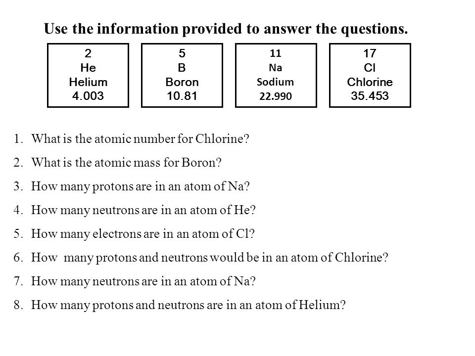5 B Boron 10.81 2 He Helium 4.003 11 Na Sodium 22.990 17 Cl Chlorine 35.453 Use the information provided to answer the questions. 1.What is the atomic