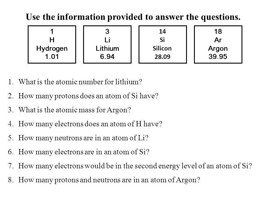 3 Li Lithium 6.94 1 H Hydrogen 1.01 14 Si Silicon 28.09 18 Ar Argon 39.95 Use the information provided to answer the questions. 1.What is the atomic n
