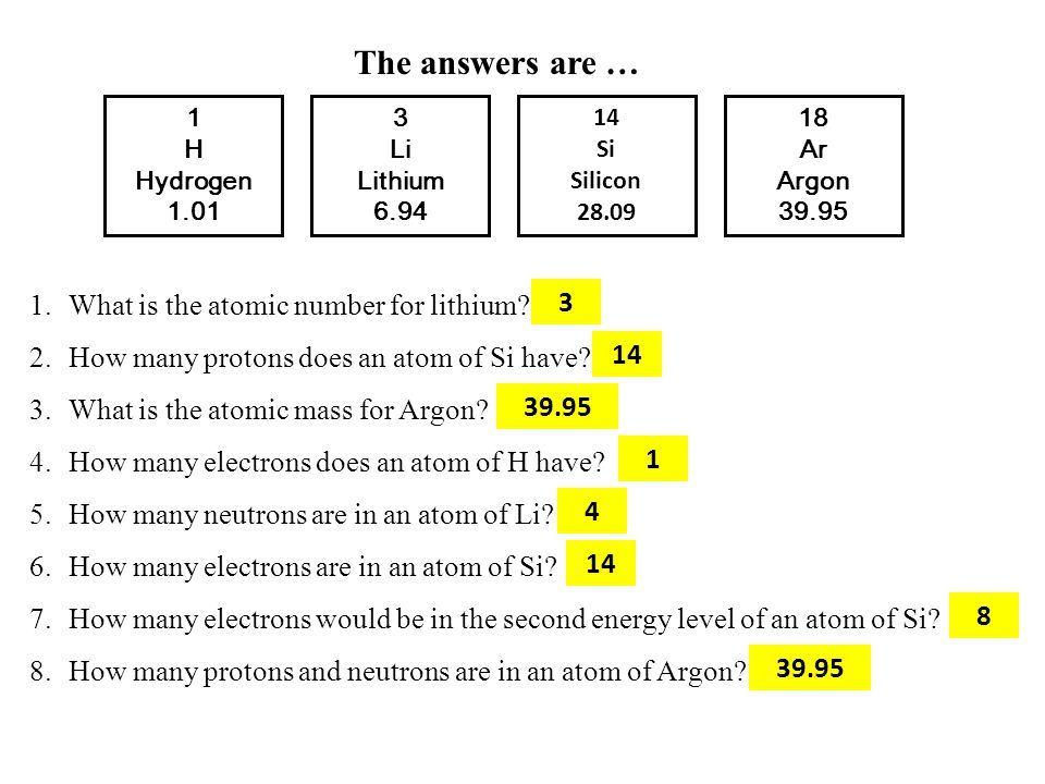 3 Li Lithium 6.94 1 H Hydrogen 1.01 14 Si Silicon 28.09 18 Ar Argon 39.95 The answers are … 1.What is the atomic number for lithium? 2.How many proton