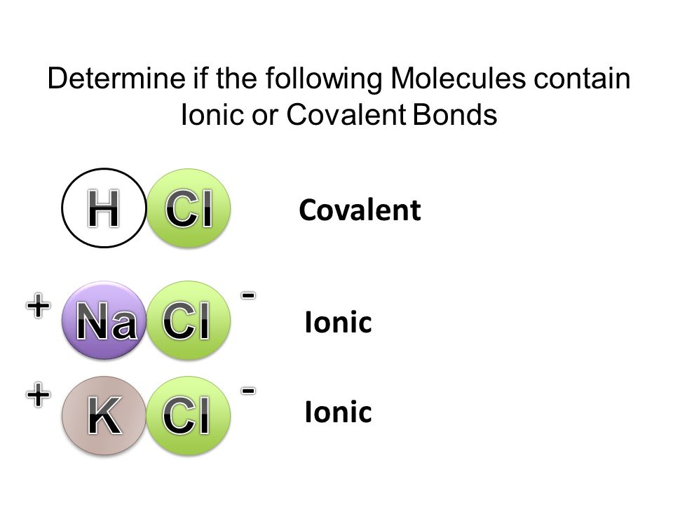 Determine if the following Molecules contain Ionic or Covalent Bonds Covalent Ionic