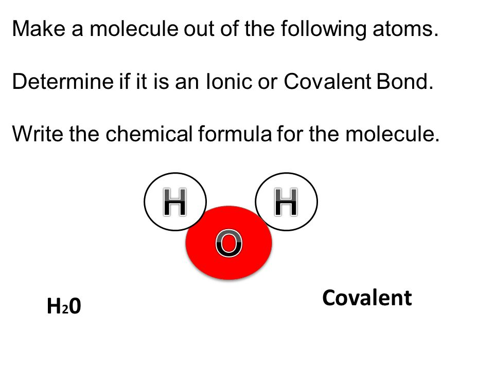 Make a molecule out of the following atoms. Determine if it is an Ionic or Covalent Bond. Write the chemical formula for the molecule. Covalent H20H20