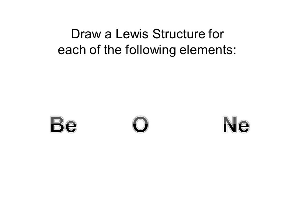 Draw a Lewis Structure for each of the following elements:
